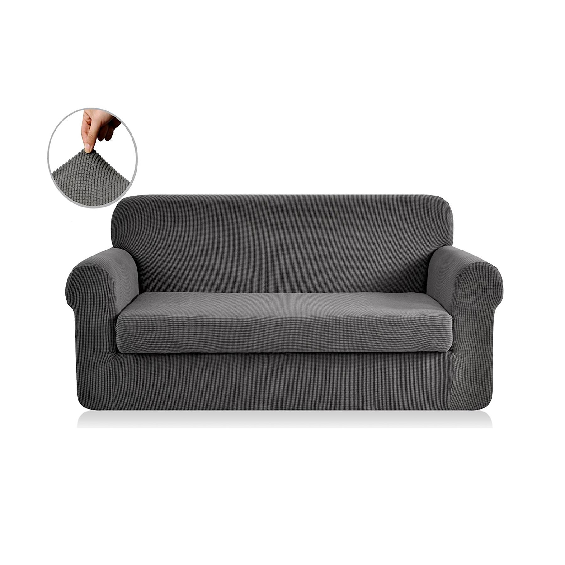 2 Piece Jacquard Polyester Spandex Sofa Slipcover (Sofa, Gray)